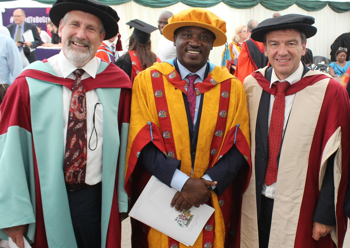 PhD 2018 graduation l Peter Beine with Prof. John Morton and Prof. Andrew Westby