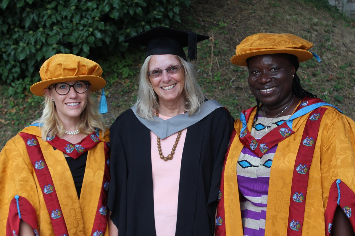 PhD Graduation 2018 Lora Forsythe and Bertha Darteh with supervisor Prof. Adrienne Martin