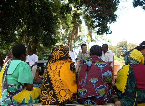 Steve Torr with villagers in Pangani, Tanzania
