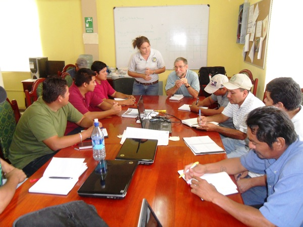 Barry Pound meeting with field extension staff of the Belize Sugar Cane Farmers Association