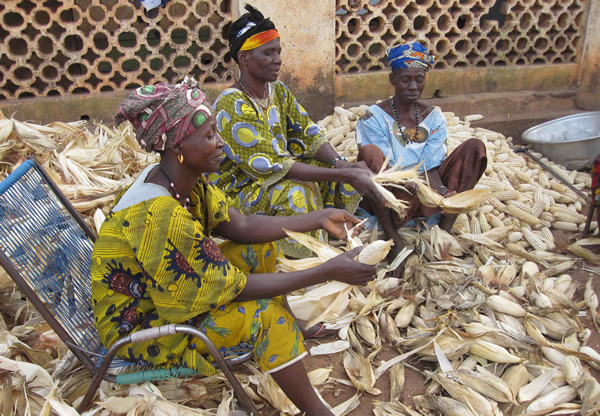 Women shelling maize during a SCARDA workshop