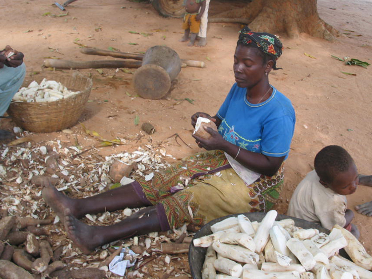 Peeling cassava - Photo by Rory Hillocks
