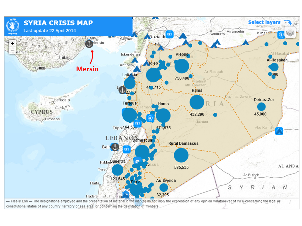 Syria map with Mersin