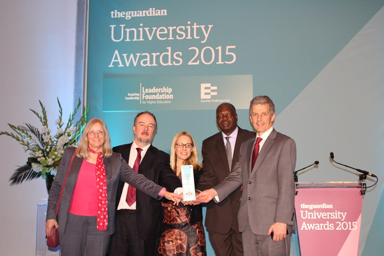 Collecting the award at the ceremony, representing NRI's C:AVA team, L–R: Adrienne Martin, Prof. Ben Bennett, Lora Forsythe and Prof. William Otim-Nape, who leads the Africa Innovations Institute in Uganda, a partner in C:AVA, and Vice-Chancellor of the University of Greenwich, Prof. David Maguire