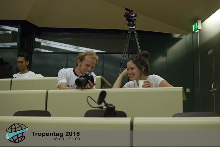 NRI student Miranda Elsby (right) with a fellow student reporter during the Tropentag 2016 in Vienna, Austria