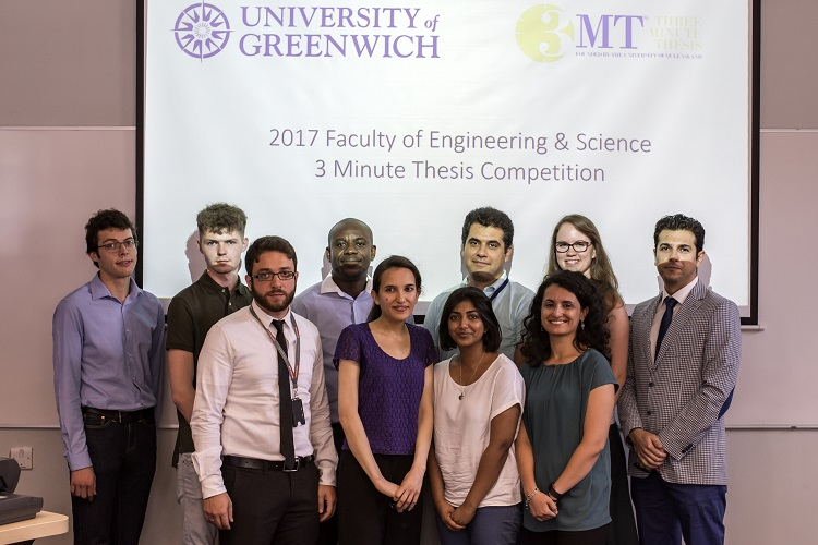 Participants in the 3MT 2017: Back row, L-R: Anthony Abbott (NRI), Billy Ferrara (Science), Eugene Ogbodo (Engineering), Alireza Monajati (Science), Sona Vyskocilova (NRI), Mehrdad Baharimehrabani (Engineering); Front row, L-R: Mohammed El Souri (Engineering), Dorna Varshavi (Science), Medhavi Ranatunga (Science), Alessandra D'Angelo (Science)